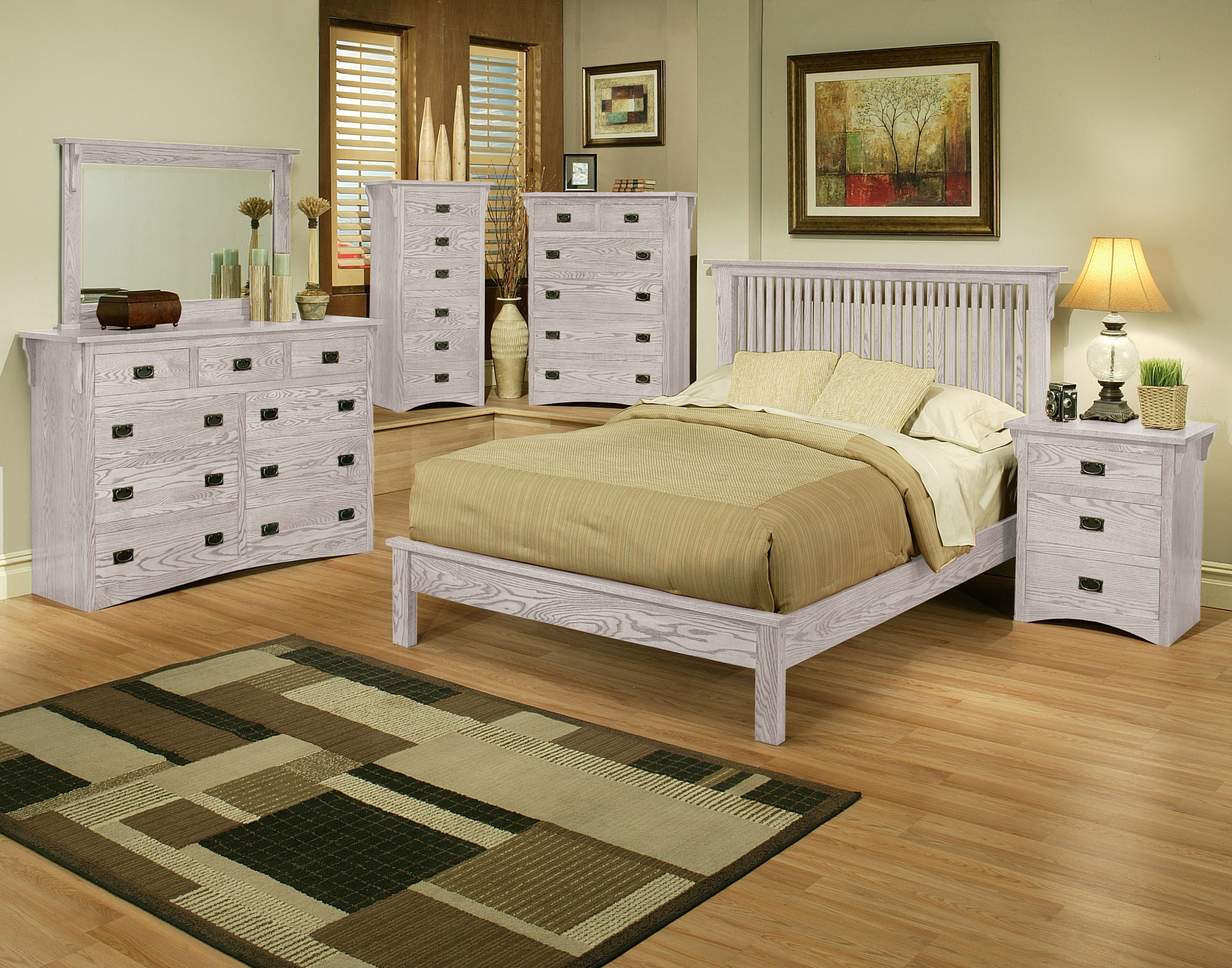 mission oak rake bedroom suite queen size