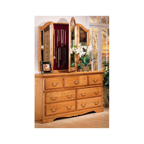 BB-500-NC and BB-518 - Heirloom Oak 7 Drawer Dresser and Wing Mirror with Hidden Storage