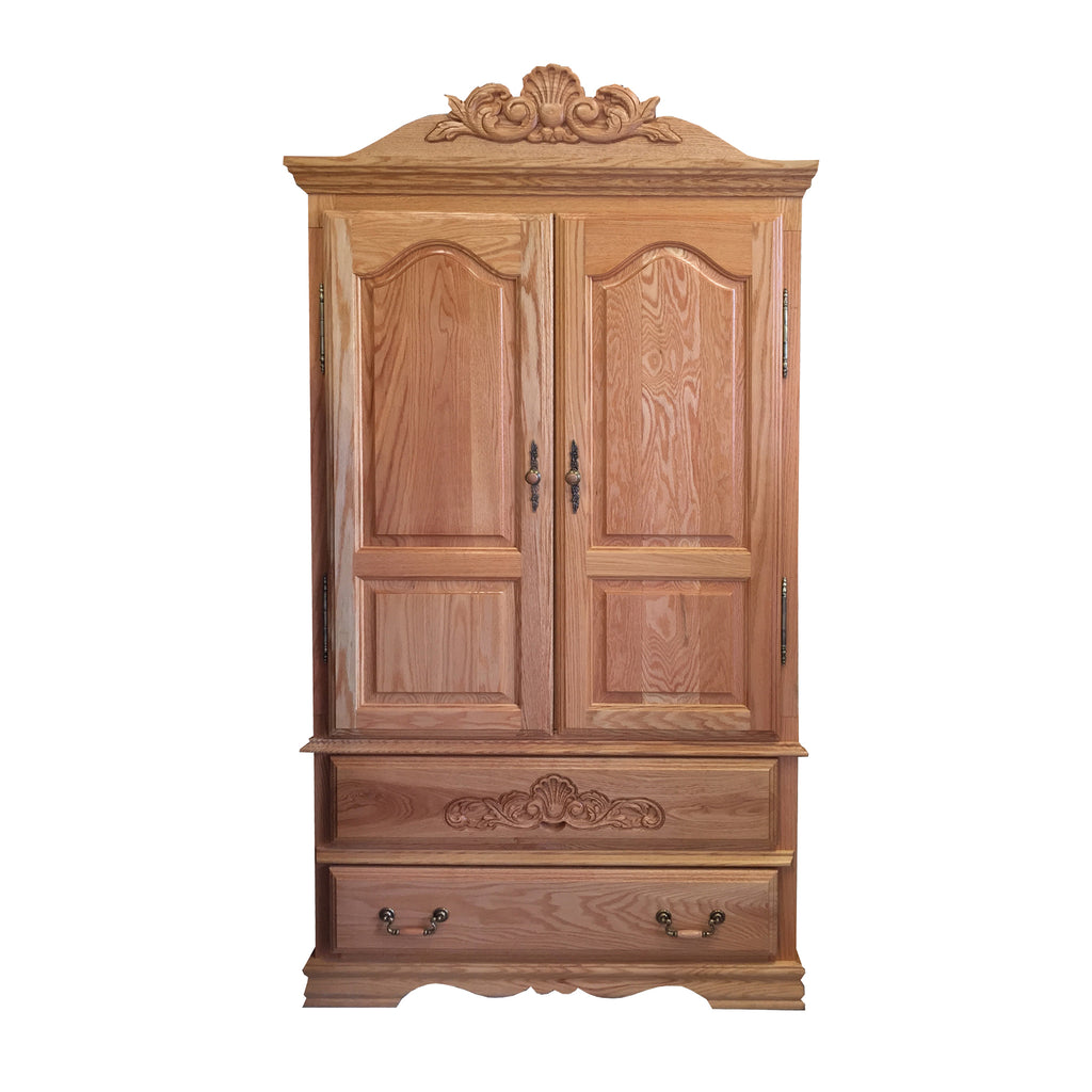 BB-508 - Heirloom Oak Large TV Armoire with Carving - Oak For Less® Furniture