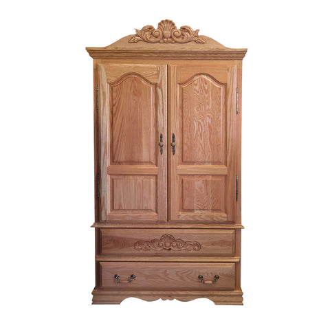 BB-508 - Heirloom Oak Large TV Armoire with Carving