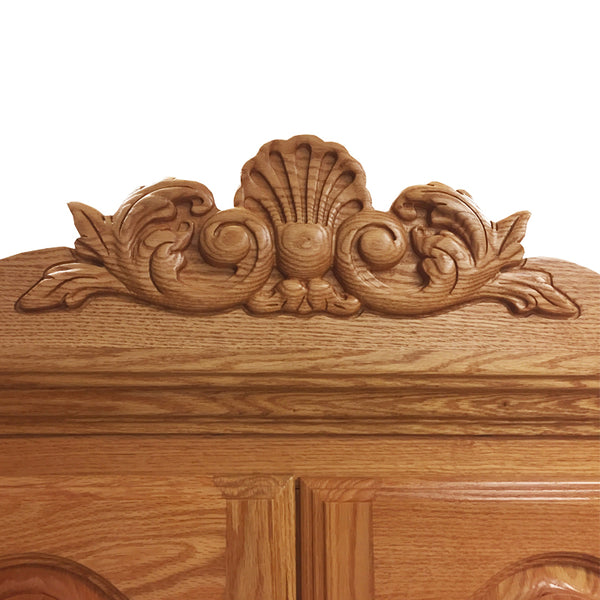 ... BB 508   Heirloom Oak Large TV Armoire With Carving ...