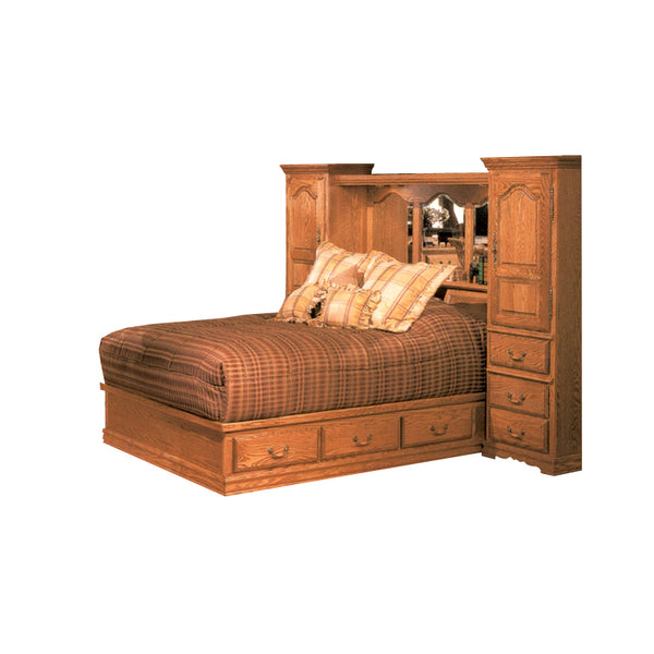 BB-600-Q-N/C and BB-670-Q - Heirloom Oak Bedroom Pier Wall with Platform Bed - Queen Size - Oak For Less® Furniture