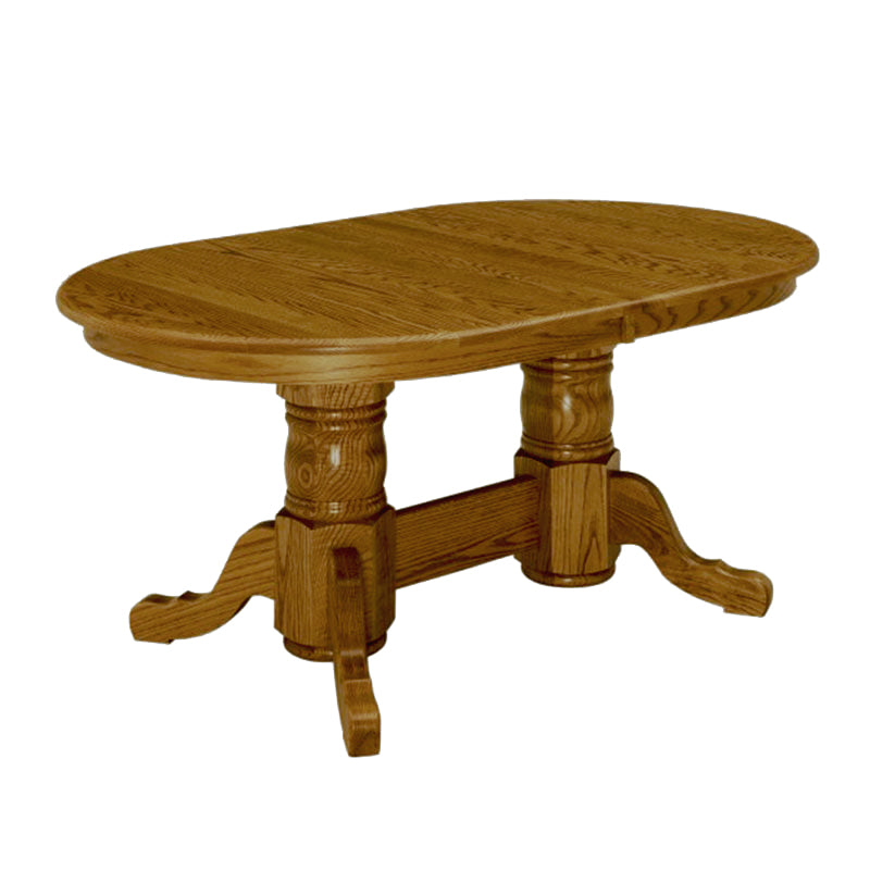 Amish made LaGrange Double Pedestal Table in Solid Oak - Oak For Less® Furniture