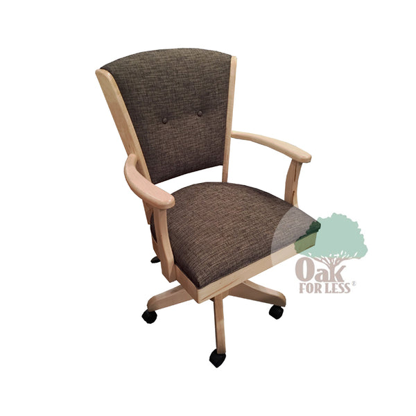 Amish made Ambrosia Caster Chair with Cushioned Seat and Back - Brown Maple - Oak For Less® Furniture