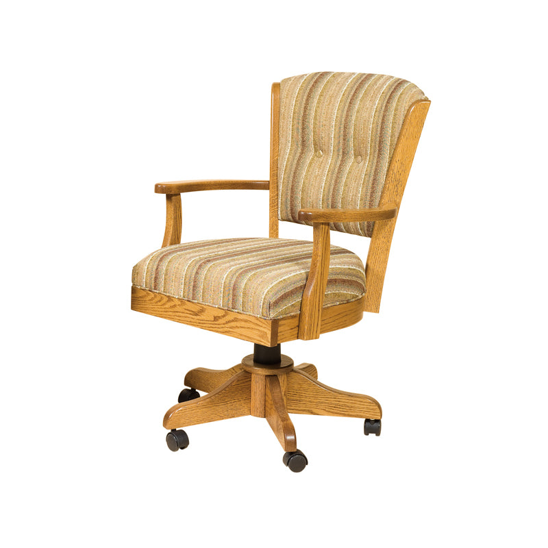 Amish made Ambrosia Caster Chair with Cushioned Seat and Back - Oak - Oak For Less® Furniture