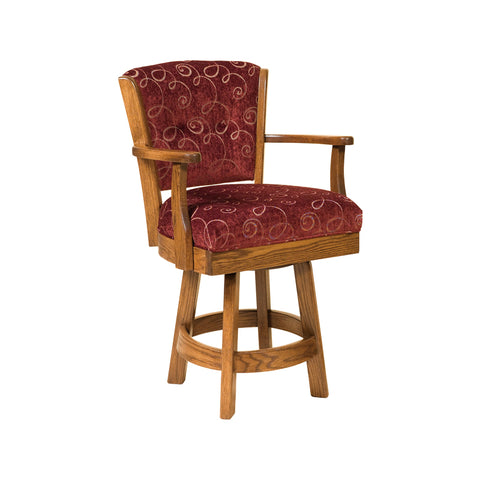 Amish made Ambrosia Swivel Barstool with Cushion Seat in Oak - Oak For Less® Furniture