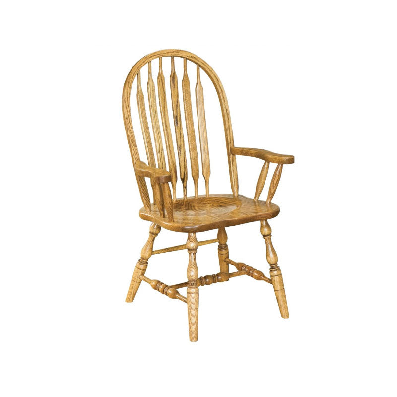 Amish made Angola Arrowback Arm Chair with Wood Seat in Solid Oak - Oak For Less® Furniture