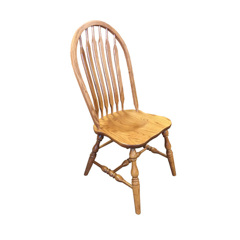 Amish made Angola Arrowback Side Chair with Wood Seat in Solid Oak - Oak For Less® Furniture