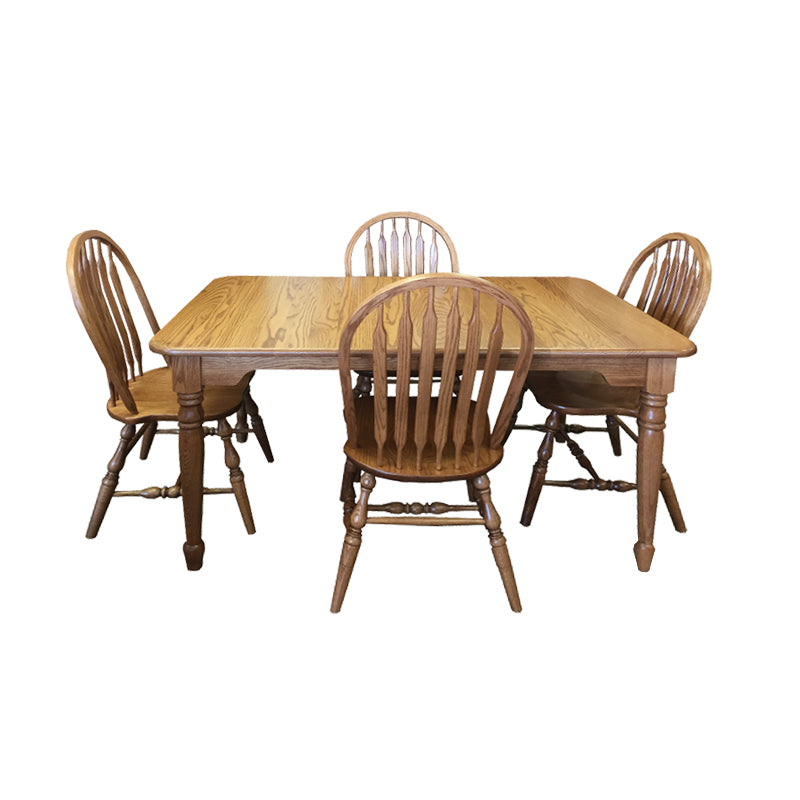 "Amish made dining - FA-Angola-Set - 36"" x 60"" Angola Leg Table and 4 Wood Seat Side Chairs"