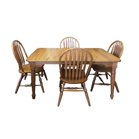 Amish made Angola Leg Table and 4 Wood Seat Side Chairs in Solid Oak - Oak For Less® Furniture