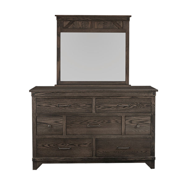 Amish made Cedar Lakes Solid Oak 7 Drawer Dresser and Mirror - Oak For Less® Furniture
