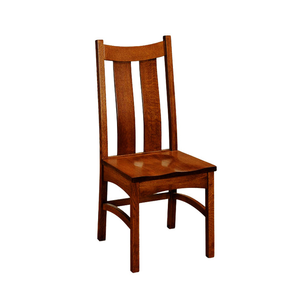 Amish made Classic Side Chair with Wood Seat in Solid Quartersawn Oak - Oak For Less® Furniture