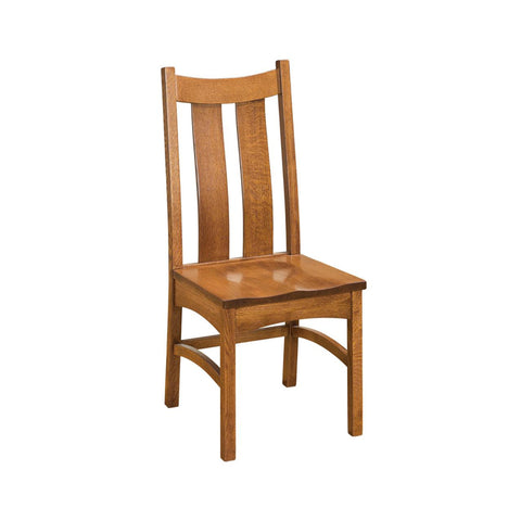 FA-CCSCW-QSWO-Toffee - Amish made Classic Solid Quartersawn Oak Side Chair with Wood Seat - Oak For Less® Furniture