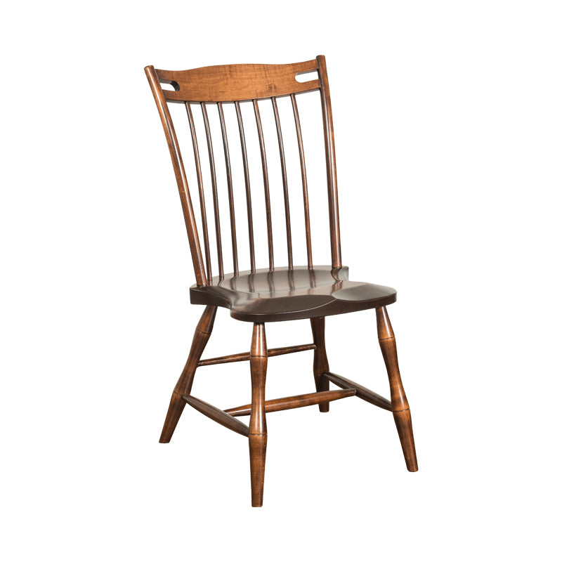 Amish made Edmonton Solid Brown Maple Side Chair with Wood Seat - Oak For Less® Furniture
