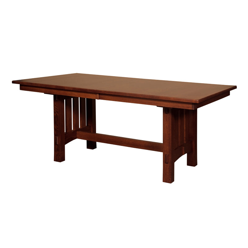 Amish made Mission Goshen Trestle Table and 6 Wood Seat Side Chairs in Solid Quartersawn Oak - Oak For Less® Furniture
