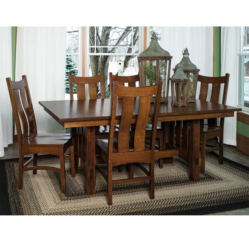 "FA-Set-6 - 42"" x 72/84/96"" Amish made Mission Goshen Trestle Table and 6 Wood Seat Side Chairs"