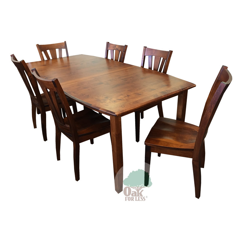 Amish Hatfield Solid Brown Maple Wood Table & 6 Side