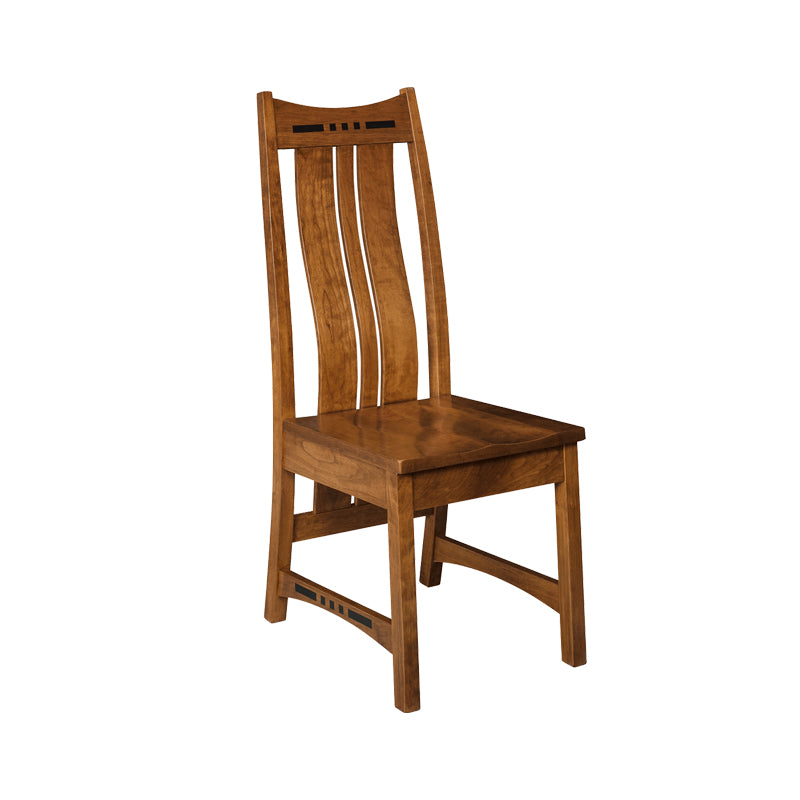 Amish made Hayworth Side Chair with Wood Seat in Solid Quartersawn Oak - Oak For Less® Furniture