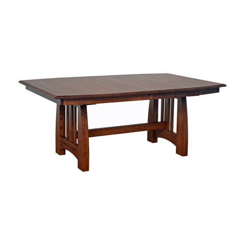 Amish made Hayworth Trestle Table in Solid Quartersawn Oak - Oak For Less® Furniture