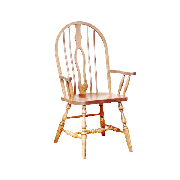 Amish made Keyback Arm Chair with Wood Seat in Solid Oak - Oak For Less® Furniture