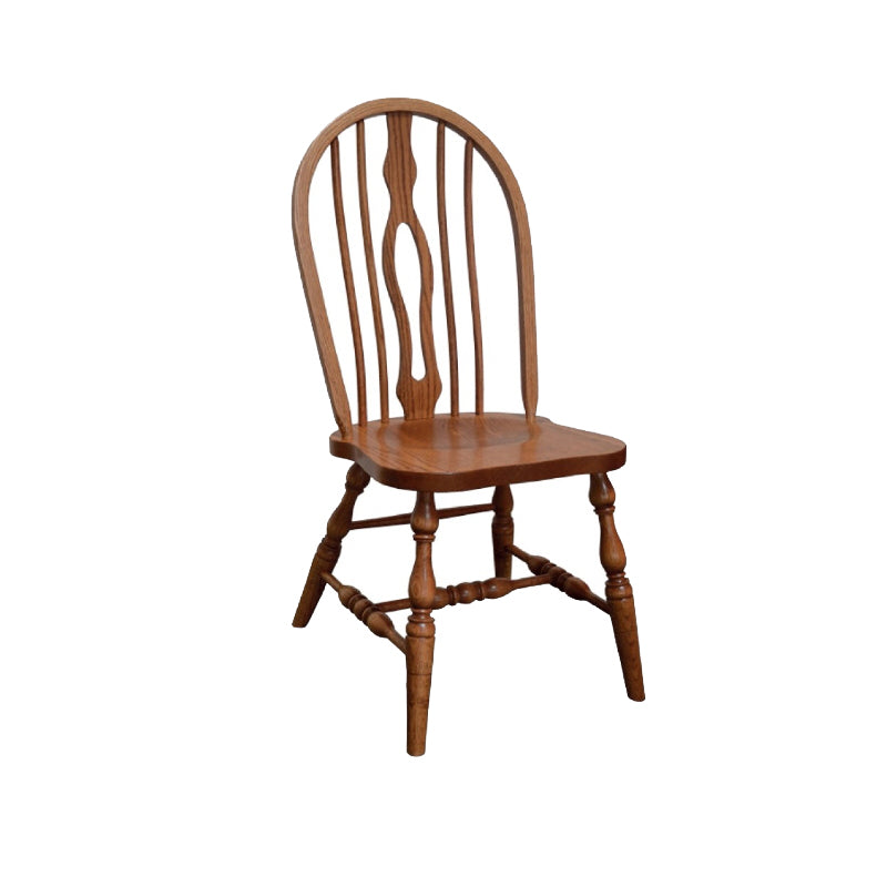 Amish made Keyback Side Chair with Wood Seat in Solid Oak - Oak For Less® Furniture
