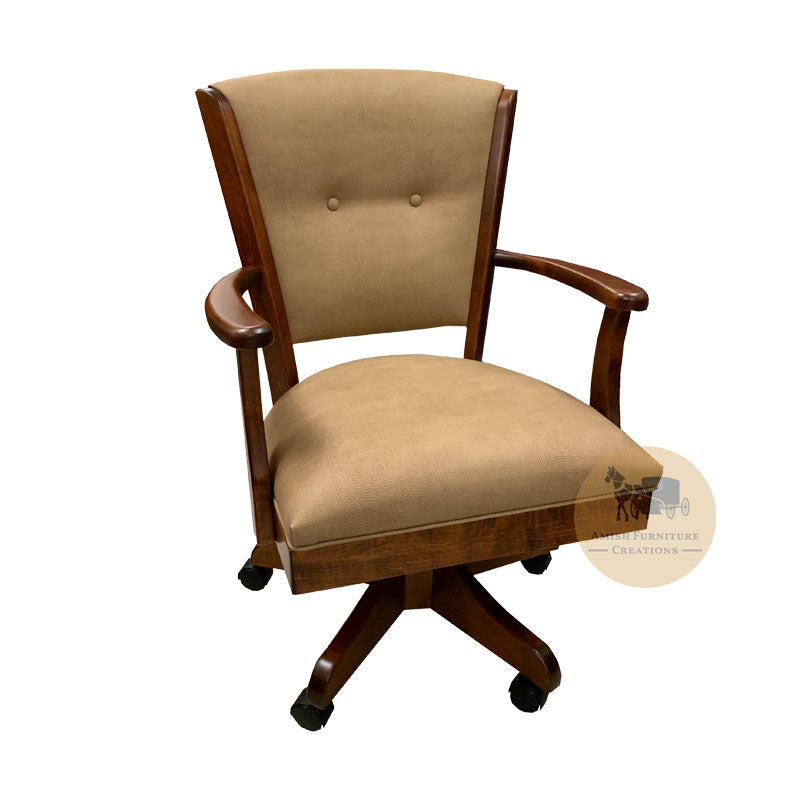 Amish made Ambrosia Caster Chair with Fabric Cushioned Seat and Back - Brown Maple