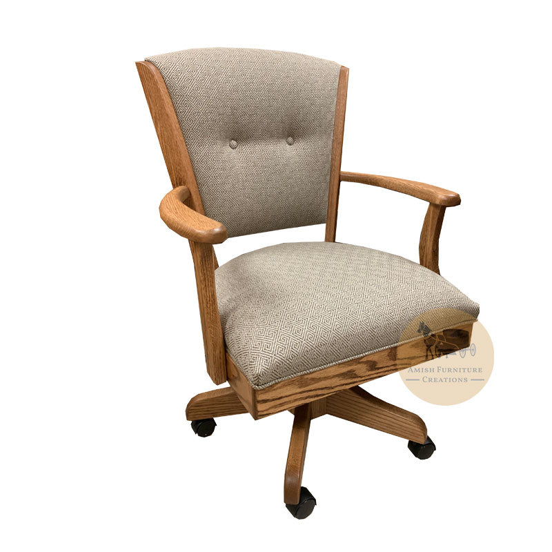 Amish made Ambrosia Caster Chair with Fabric Cushioned Seat and Back - Oak