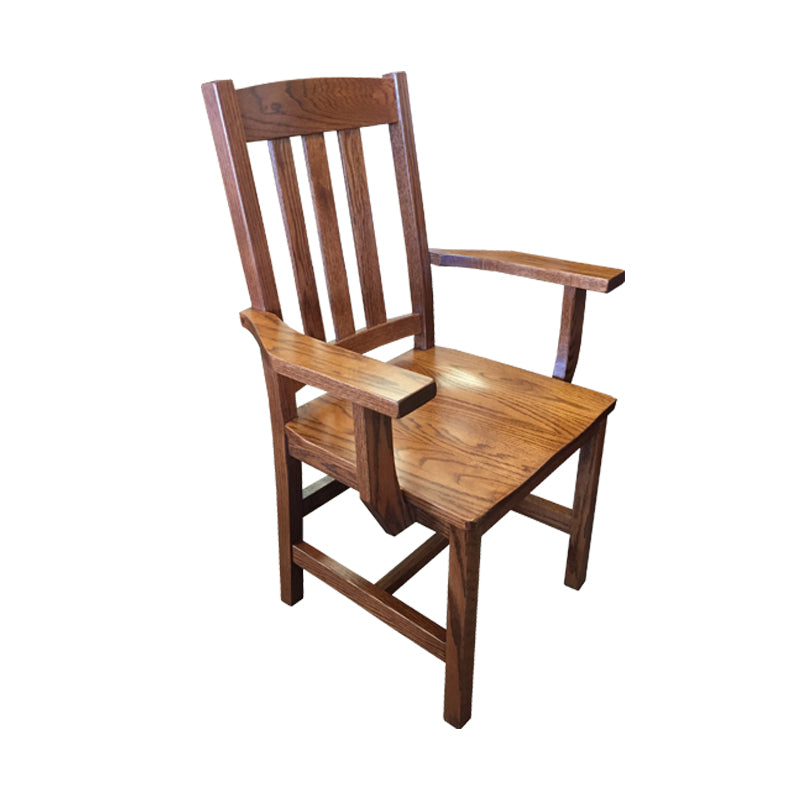 Amish made Old Mission Arm Chair with Wood Seat in Solid Oak - Oak For Less® Furniture