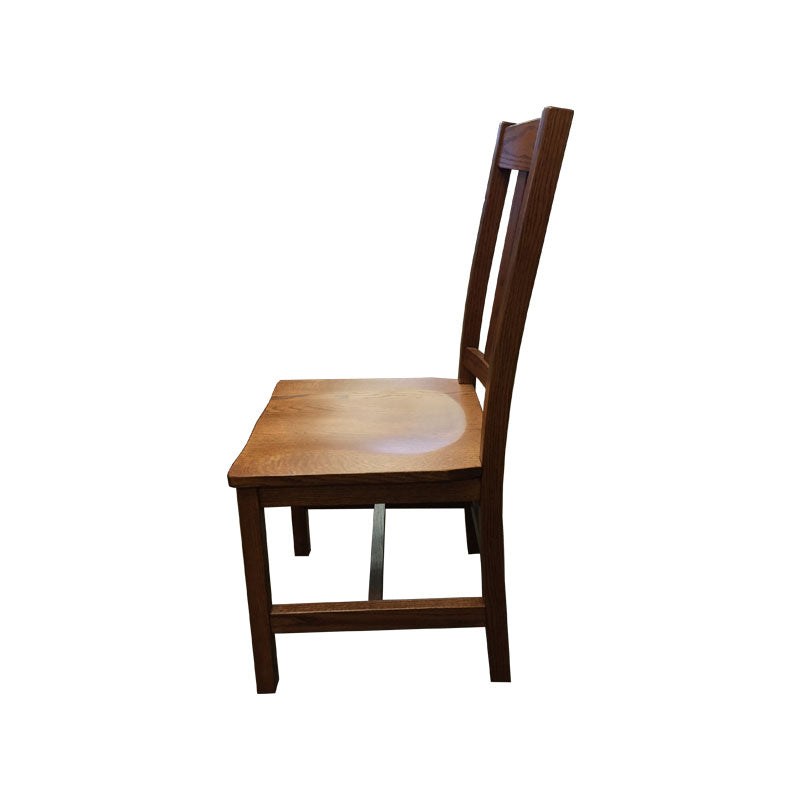 Amish made Old Mission Side Chair with Wood Seat in Solid Oak - Oak For Less® Furniture