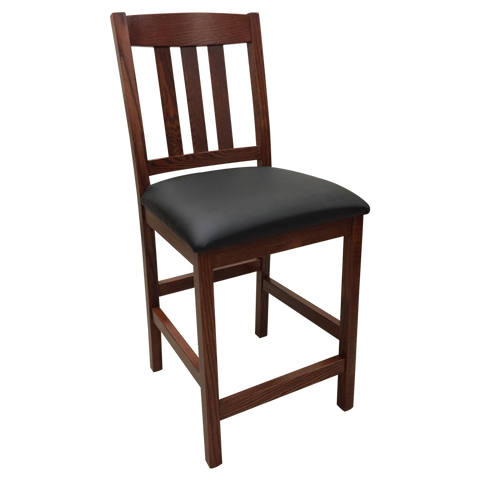 "Amish made Old Mission 24"" Barstool with Leather Seat in Solid Oak - Oak For Less® Furniture"