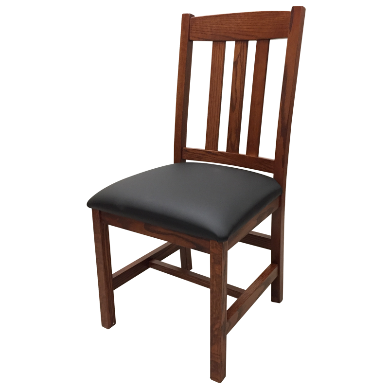 Amish made Old Mission Side Chair with Leather Seat in Solid Oak