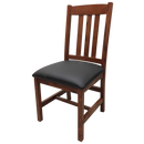 Amish made Old Mission Side Chair with Leather Seat in Solid Oak - Oak For Less® Furniture