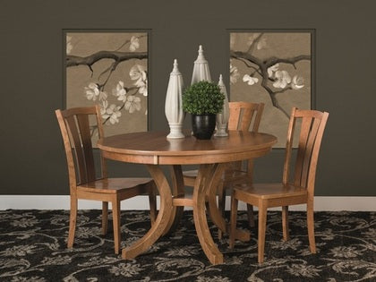 "FA-Set-4 - 48"" x 48/60/72"" Amish made Charleston Pedestal Table and 4 Wood Seat Side Chairs"