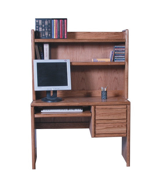 "FD-1011 and FD-1013 - Contemporary Oak 44"" Computer Desk with Hutch - Oak For Less® Furniture"