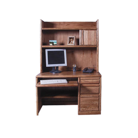"FD-1026 and FD-1014 - Contemporary Oak 48"" Computer Desk with Hutch - Oak For Less® Furniture"