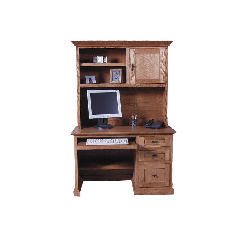 "FD-1026M and FD-1014M - Mission Oak 48"" Computer Desk with Hutch - Oak For Less® Furniture"