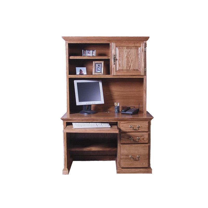 "FD-1026T and FD-1014T - Traditional Oak 48"" Computer Desk with Hutch - Oak For Less® Furniture"