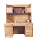 "FD-1048 and FD-1016 - Contemporary Oak 60"" Executive Desk with Hutch - Oak For Less® Furniture"