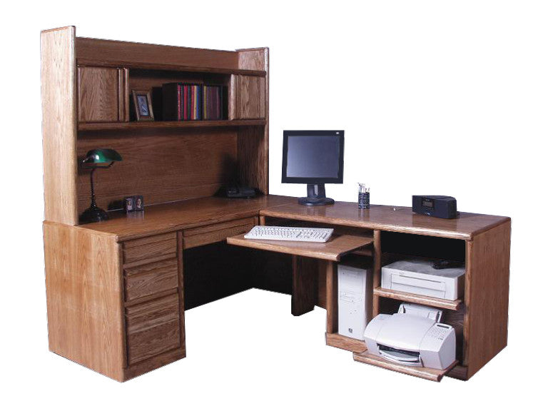FD-1050 and FD-1018 - Contemporary Oak Desk and Right Return with Hutch - Oak For Less® Furniture