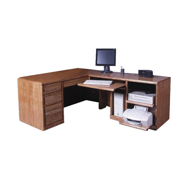 FD-1050 - Contemporary Oak Desk and Right Return - Oak For Less® Furniture