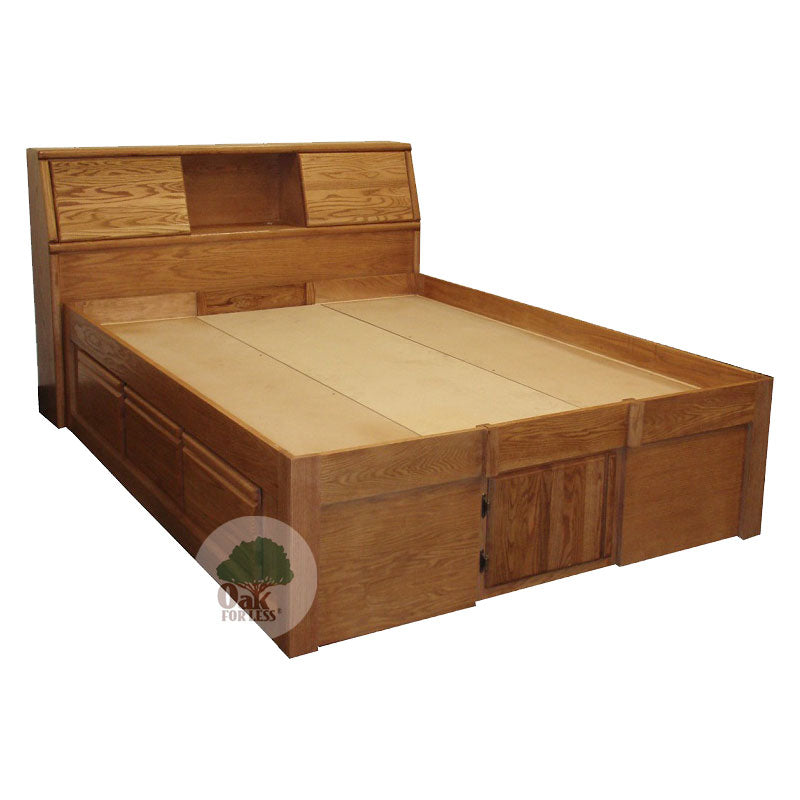 FD-3021 and FD-3012 - Contemporary Oak Pedestal Bed with Bookcase Headboard - Queen Size - Oak For Less® Furniture
