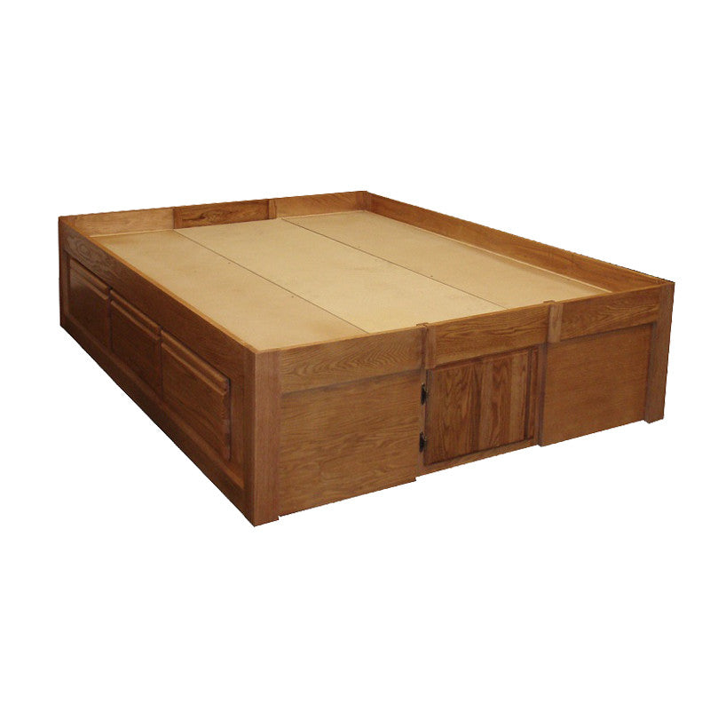 FD-3021 - Contemporary Oak Pedestal Bed with 6 Drawers - Queen size - Oak For Less® Furniture