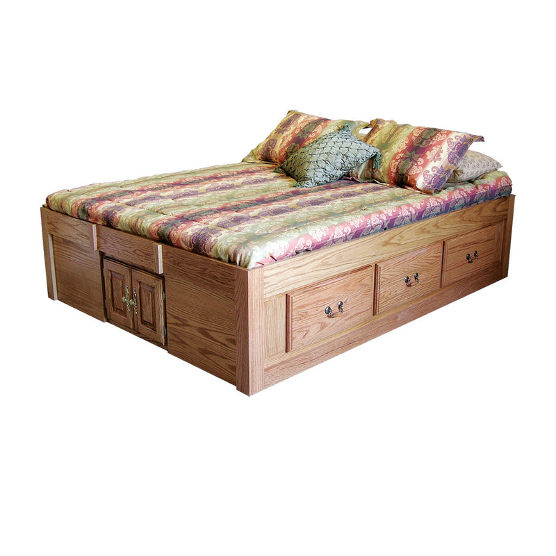 FD-3023T - Traditional Oak Pedestal Bed with 6 Drawers - Cal King size - Oak For Less® Furniture