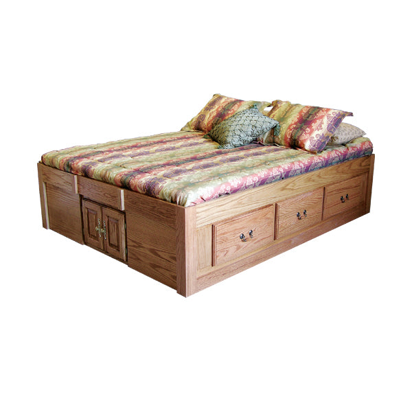 FD-3024T - Traditional Oak Pedestal Bed with 6 Drawers - Full size - Oak For Less® Furniture
