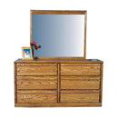 FD-3042 and FD-3062 - Contemporary Oak 6 Drawer Dresser with Mirror - Oak For Less® Furniture