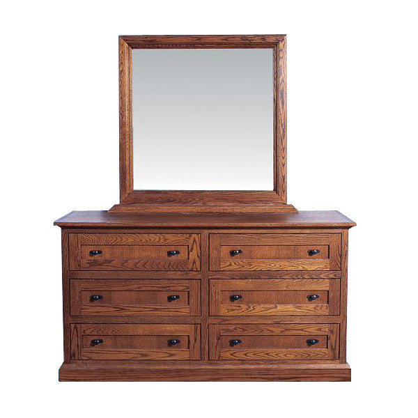 FD-3042M and FD-3062M - Mission Oak 6 Drawer Dresser with Mirror - Oak For Less® Furniture