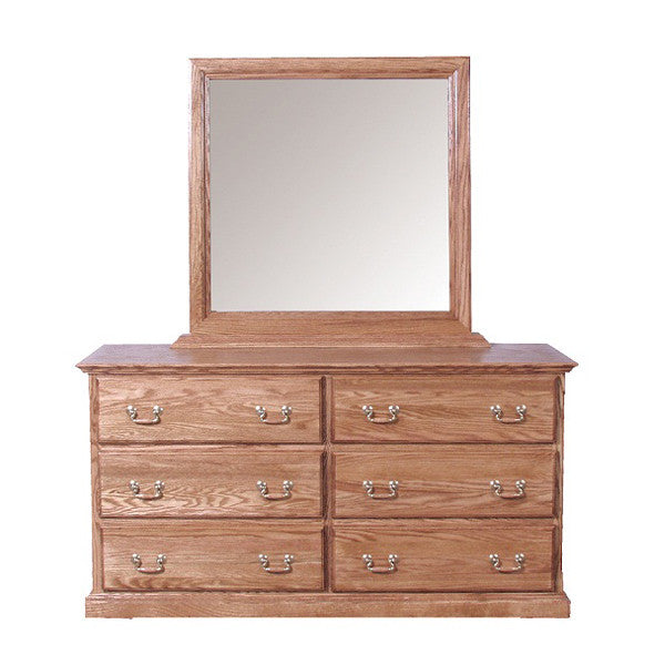 FD-3042T and FD-3062T - Traditional Oak 6 Drawer Dresser with Mirror - Oak For Less® Furniture