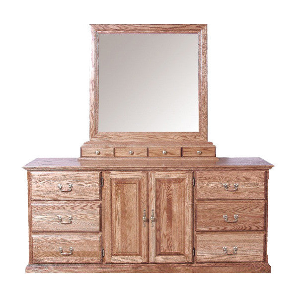 FD-3045T and FD-3061T - Traditional Oak 9 Drawer Dresser (3 are hidden) with Mirror - Oak For Less® Furniture