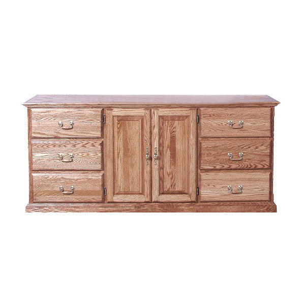 FD-3045T - Traditional Oak 9 Drawer Dresser (3 are hidden) - Oak For Less® Furniture
