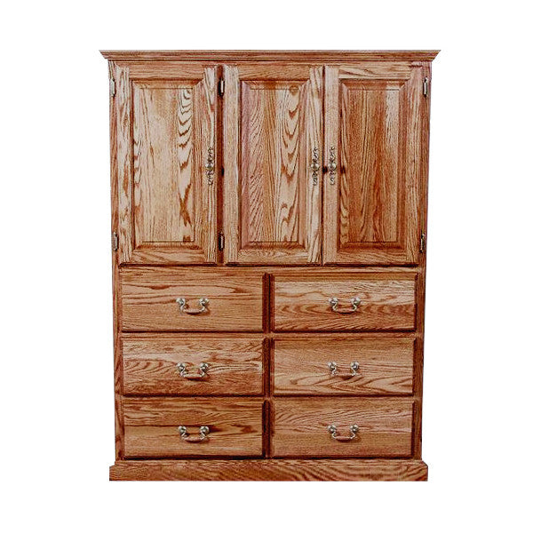 FD-3056T - Traditional Oak 10 Drawer Clothing Armoire - Oak For Less® Furniture